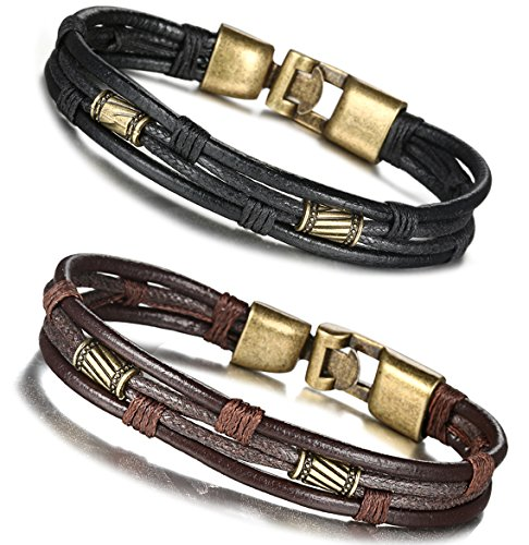 FIBO STEEL Leather Bracelet for Men Braided Wrist Cuff Vintage, 2 Pcs a Set 8.5inches