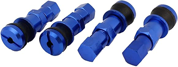 uxcell 4PCS Royal Blue Adapter in Wheel Rim Tire Valve Stem Cap Covers for Auto Vehicles