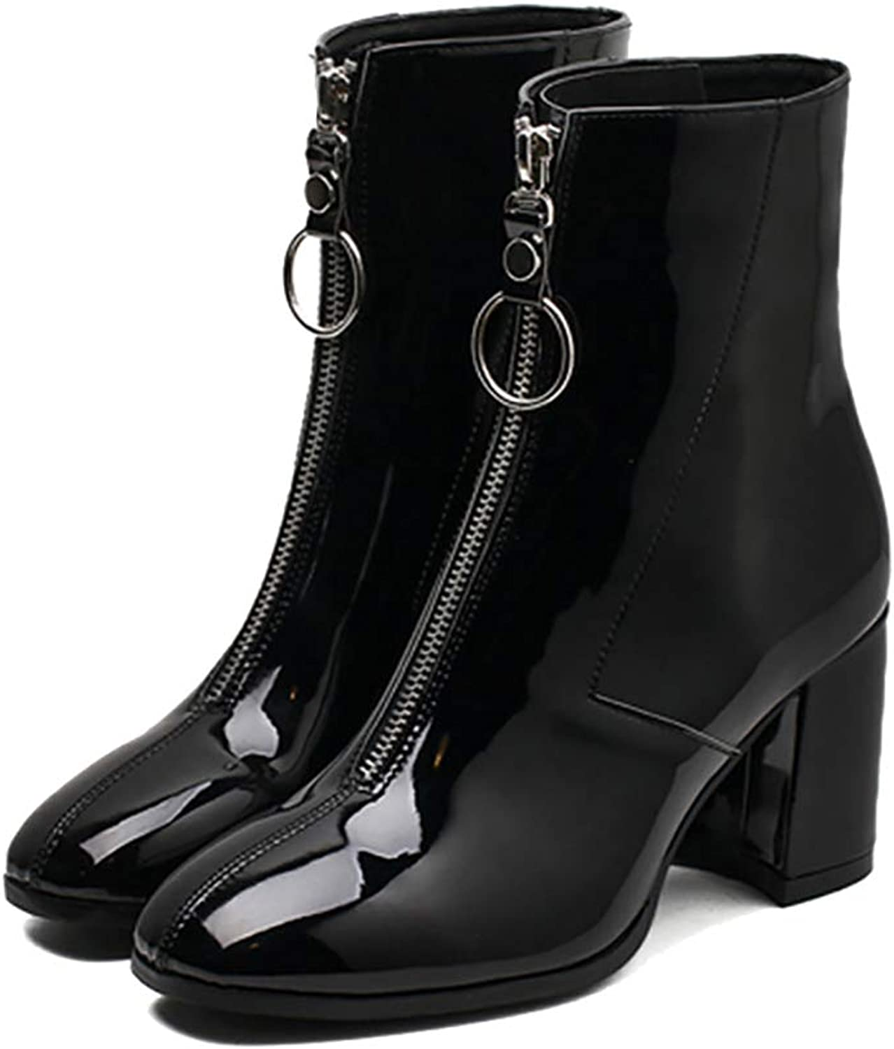 MONMOIRA Front Zipper Punk Motorcycle Women Vintage Square Toe High Heel Women Boots Warm Winter Women shoes SWE0315