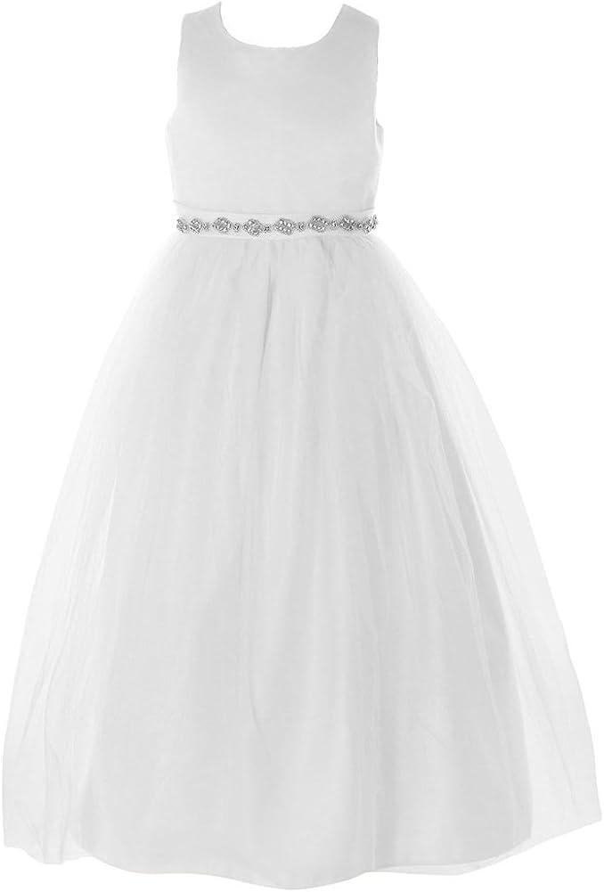 FAYBOX Classy Wedding Flower Girl White Dresses First Holy Communion