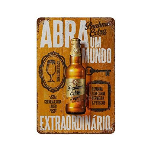GDRAY Brahma Extra Bier-Werbung Vintage Blechschild Metallschild Werbung Poster Geschenk für Mann Höhlen Cafe Bar Pub Bier Wanddekoration Kunst