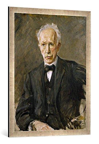 Gerahmtes Bild von Max Liebermann Richard Strauss/Liebermann, Kunstdruck im hochwertigen handgefertigten Bilder-Rahmen, 60x80 cm, Silber Raya