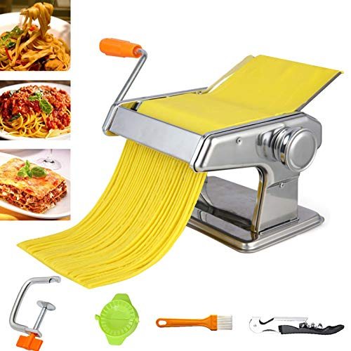 Nudelmaschine, manuelle Nudelmaschine aus Edelstahl mit einstellbarer Dicke und Tischklemme für Spaghetti, Fettuccine, Lasagne oder Knödelschalen