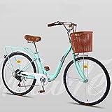 Cómoda Bicicleta De Ciudad con Una Canasta, Bicicleta, Elegance Bicicleta Urbana, City Bike, Bicicleta Paseo, Bicicleta De Paseo Mujer, Bicicleta Urbana Vintage Retro,Verde,6 Speed