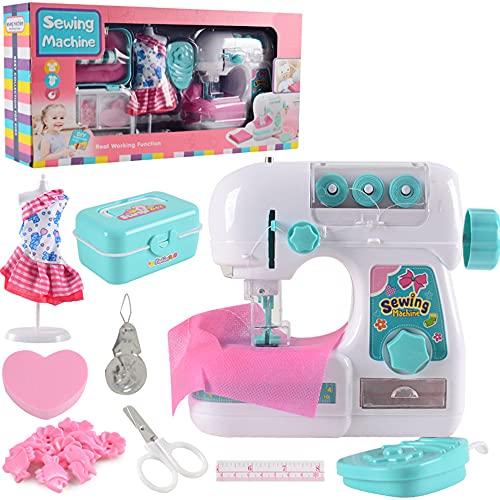 SHFAMHS Caja De Máquina De Coser para Niños, Mini Máquina De Coser Eléctrica, Juguete Educativo Interesante para Niños, Niñas, Niños, Principiantes