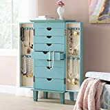 Hives and Honey Cabby Fully Locking Jewelry Armoire, 40' x 19' x 13.75', Turquoise
