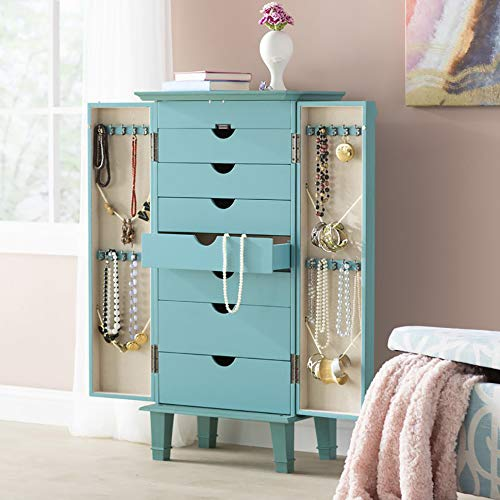 "Hives and Honey Cabby Fully Locking Jewelry Armoire, 40"" x 19"" x 13.75"", Turquoise"