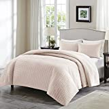 Comfort Spaces Kienna Quilt Coverlet Bedspread Ultra Soft Hypoallergenic All Season Lightweight Filling Stitched Bedding Set, King 104'x90', Blush 3 Piece