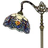 Tiffany Style Reading Floor Lamp Lighting W12H64 Inch Blue Stained Glass Lotus Lampshade Antique Adjustable Arched Base S220 WERFACTORY LAMPS Living Room Bedroom Beside Table Desk Girlfriend Gifts