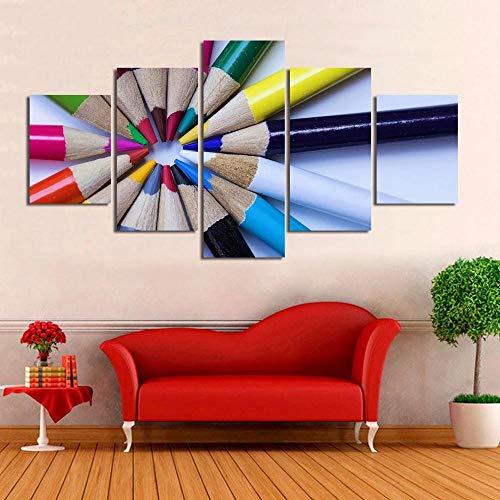 YOUQIANREN Cuadro en Lienzo HD Impresión de 5 Piezas Lápices de Colores de Pinturas en Lienzo Imagen Gráfica Cartel Decorativo Mural Art Room Decoración Salon Enmarcado 150x80cm