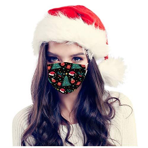 50/100Stück Weihnachten Einmal-Mundschutz 3-lagiger Baumwolle Atmungsaktiv Staubdichter Sanft Bequeme Bandana Mundbedeckung für Damen und Herren