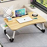Lap Desk with Storage Drawer, Phone and Cup Holder, Laptop Bed Tray Table, 23.6' Foldable Laptop Desk with White Legs for Adults and Kids, Laptop Stand for Working, Writing, Gaming and Drawing