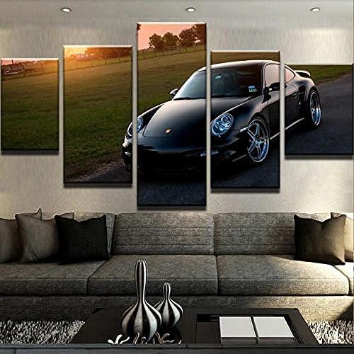 Cuadro Moderno En Lienzo 5 Piezas - Vehículo Turboalimentado 911 Digitalizada Impresión Hd Impresión De Imagen Artística Para Tu Salón Dormitorio-Con Decor Hogareña Marco-150X80Cm