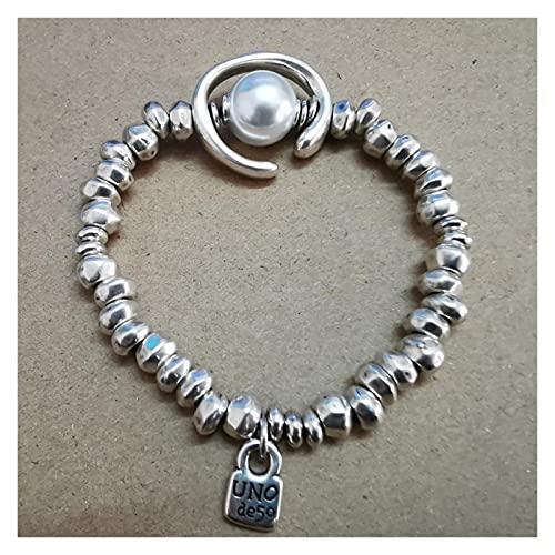 chushi Pulsera Tendencia Lock Pearl Pulsera de Calidad Irregular para Mujeres Hombres Pareja Lucky Jewelry Regalos Lujo 19cm Pulsera de Amistad Zzib (Color : 19CM)