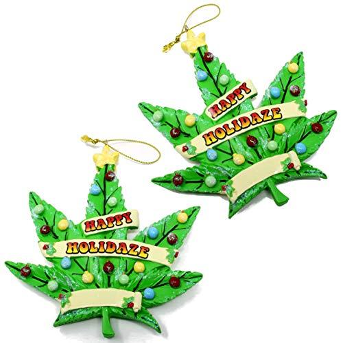 Kurt Adler Multi Pack Marijuana Leaf Ornaments   Weed Decorations   Christmas Tree Ornament (Two Pack)