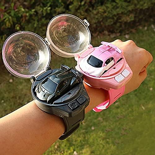 H.Slay 2.4G Radio Reloj Control Remoto Coches, Cartoon RC Race Car, Supercar Racing Car, Vehículos de Juguete RC Kit para niños, Reloj de Pulsera Ajustable Control Remoto USB Recargable (Color: Pink)