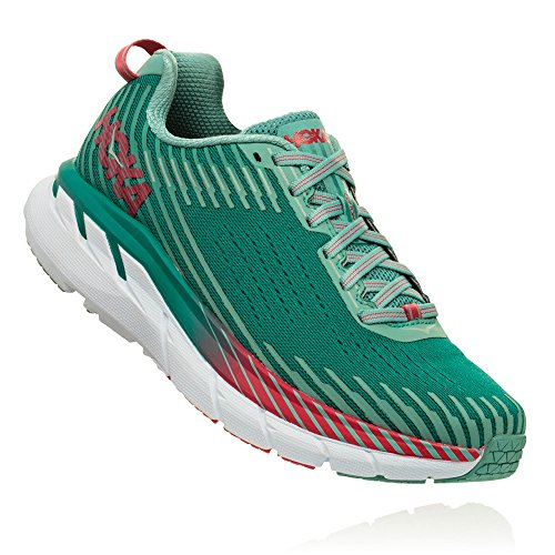 HOKA ONE ONE Women's Clifton 5 Running Shoe (6 B US, Green/Blue Slate/Canton Mesh)