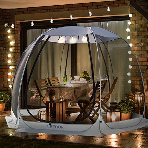 Leedor Gazebos for Patios Screen House Room 4-6 Person Canopy Mosquito Net Camping Tent Dining Pop Up Sun Shade Shelter Mesh Walls Not Waterproof Gray,10