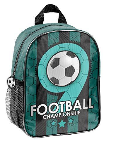 Fussball Soccer Kindergartenrucksack Kinderrucksack für Jungen und Mädchen (19F) mit Hauptfach und Getränkenetz, 28x22x10 cm, grün/schwarz