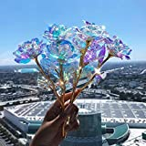 10Pcs Artificial Flower Colorful Galaxy Rose Gold Foil Fake Forever Rose Gift for Mom Women Girl Friend Her Rose for Valentine's Thanksgiving Mother's Day Wedding Anniversary Supplies (A, 10)