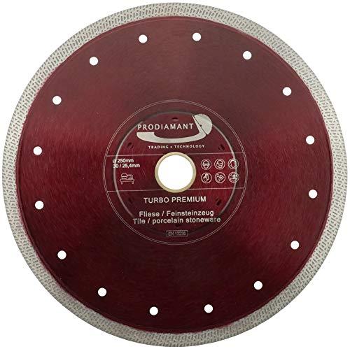 PRODIAMANT Premium - Disco de corte de diamante para baldosas de gres fino (250 mm x 30 mm, 25,4 mm, 250 mm)