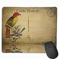 【2021新款】マウスパッドbird Vintage Postcard マウスパッドゲーミングマウスパッド大型ゲーミング滑り止めハイエンド流行のファッション防水耐久性滑り止めラバーボトム 25*30cm