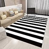 Alfombra Dormitorio Infantil Alfombra de salón, rayas blancas y negras, patrón de estilo clásico, alfombra suave duradera Alfombras Dormitorio Pie De Cama Antideslizante Para Alfombras Negro El 100X16