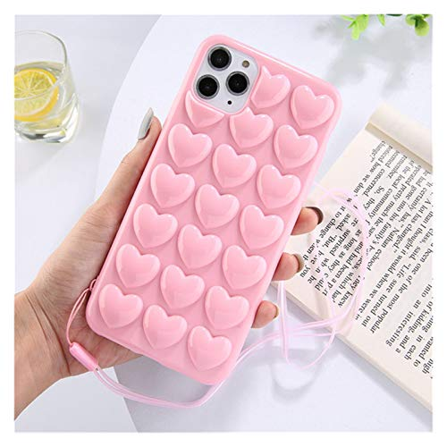 Glqwe 3D Love Heart Candy Phone Case für iPhone 12 Mini pro max 6 7 8 11 s Plus x s xr max silikon Lanyard Back Abdeckung (Color : Pink, Material : for iPhone 12)