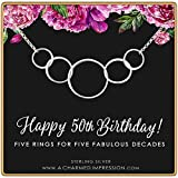 50th Birthday Gift for Women • 925 Sterling Silver • Five Connected Circles • 5 Decades Celebration • 50 Years Old • Simple Minimalist Everyday Necklace • Handcrafted Milestone Jewelry