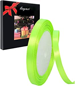 Solid Color Apple Green Satin Ribbon 1/4 inch X 25 Yard, Ribbons Perfect for Crafts, Hair Bows, Gift Wrapping, Wedding Party Decoration and More