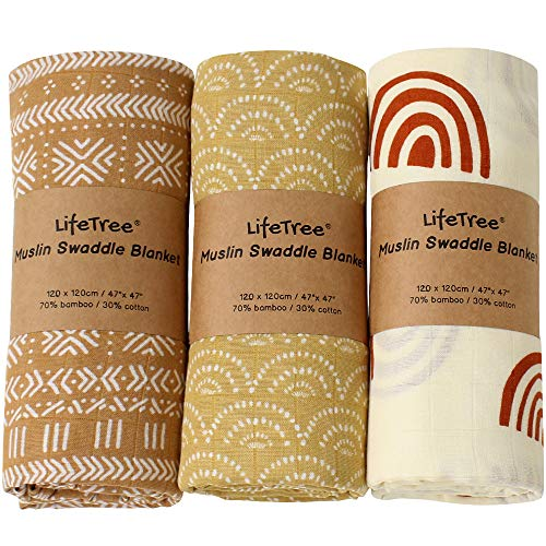 LifeTree 3 Pack Baby Swaddle Blankets  Soft Bamboo Cotton Muslin Swaddle Blankets  Earthy Color Collection Lightweight Breathable Large 47 x 47 inches