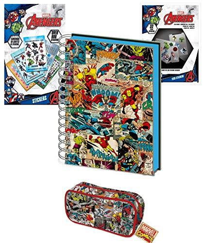 MJB Marvel Bumper Stationery Bundle Set - Marvel A5 Wiro Notebook 3D Cover - Federmäppchen - 800 Aufkleber - 33 Tech Sticker