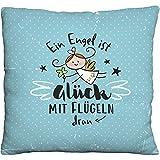 Die Geschenkewelt Happy Life 46148 Plüschkissen Schutzengel, Deko Engel-Motiv, Hellblau Kissen,...