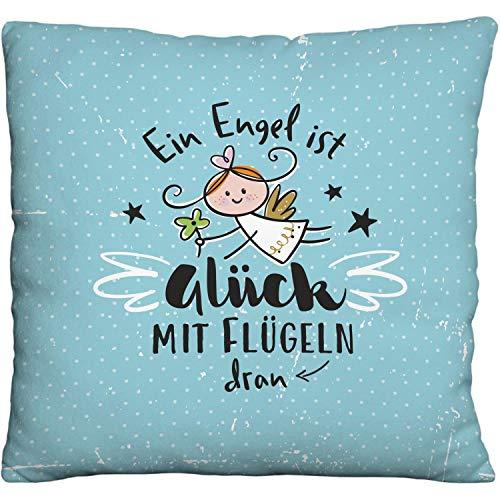 Die Geschenkewelt Happy Life 46148 Plüschkissen Schutzengel, Deko Engel-Motiv, Hellblau Kissen, Polyester, Blau, 25 cm x 25 cm