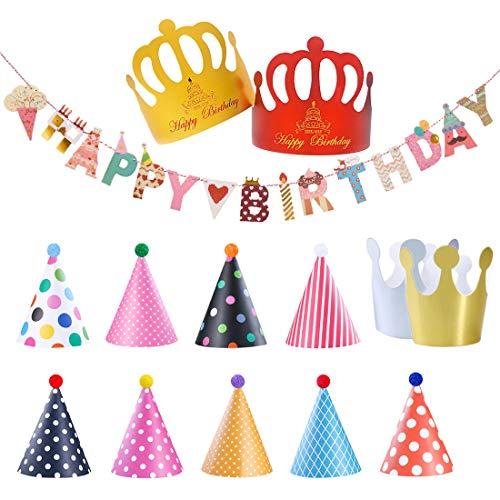 Sombreros de Papel del Fiesta de Cumpleaños y Pancarta de Feliz Cumpleaños, Gorros Forma Cónica con Poms, Tapa de Corona de Varios Color y Tamaños Para Los Cabritos y Los Adultos, Favores de la Fiesta
