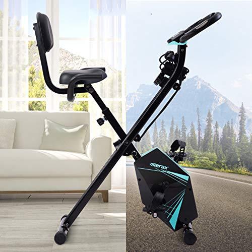 KirinSport Bicicleta plegable con pantalla LCD, altura ajustable y bandas de resistencia de brazo para entrenamiento en interiores, color azul