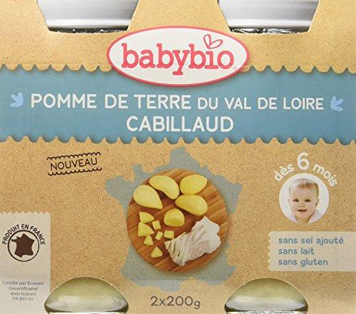 Babybio Pots Pomme de Terre du Val de Loire/Cabillaud 400 g - Lot de 6
