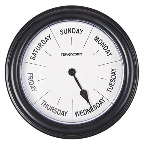 Ravencourt Zegar na dni tygodnia, 21 cm, czarny, 218 g