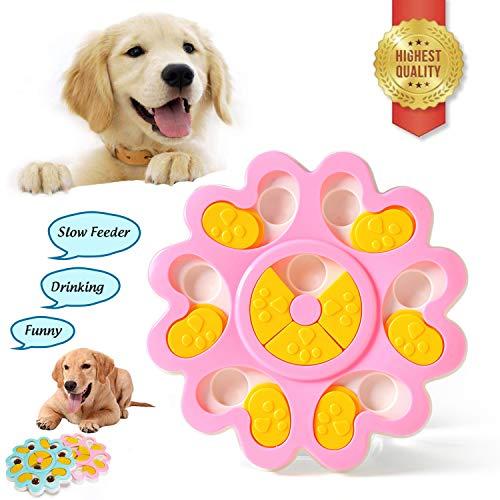 Sunshine smile Dispenser Puzzle Dog Toy,Dog Training Games Feeder,Puppy Puzzle Toys,Feeder Puzzle Ciotola per Puppy Pet,Cani Alimentatore Lento Pet Bowl,Feeder Giocattoli Zampa (Rosa)