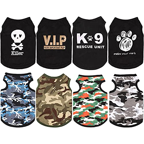 8 Pieces Dog Boy Summer Shirt Dog Camo Shirts Sleeveless Printed Pet Shirt Puppy Camouflage T-Shirt Breathable Puppy Vest Clothes Pet Apparel for Small to Medium Dog Puppy Cat (X-Small)