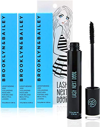Lash Next Door Black Waterproof Mascara Lengthens and Volumizes Without Clumps Volume Waterproof Mascara for Longer Fuller Thicker Smudge Proof Lashes by Brooklyn and Bailey (3 Pack)