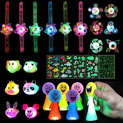 Light Up Party Favors For Kids-Bumpy Jelly Rings Bracelet,Glow Kids Tattoos Nail Stickers-Birthday Party Supplies-Halloween Christmas Stocking Gift Box Prizes,Pinata Stuffer,Goodie Bags Filler