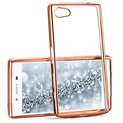 MoEx® Transparente Silikonhülle im Chrome-Style kompatibel mit Sony Xperia Z5 | Flexibler Schutz mit Hochglanz Metallic Rahmen, Rosé-Gold