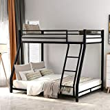 Low Bunk Beds Twin Over Full Size, Metal Bunk Beds with Ladders and Guard Rail, No Box Spring Needed