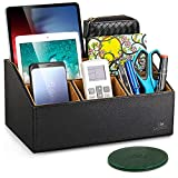 LAMOTI Leather Desk Organizer with a 4' Coaster, Large Capacity 5 Compartments Desktop Unifier, Handcrafted (Black)