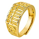 Xiaoji Prosperity Golden Abacus Ring, Circle Adjustable Jewelry Gift for Women Men Wedding New