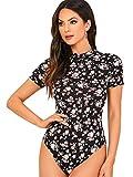 SweatyRocks Women's Floral Print Mock Neck Short Sleeve T Shirt Bodysuit Jumpsuit Black S