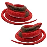 Homdipoo Realistic Fake Rubber Toy Snake Black Fake Snakes That Look Real Prank Stuff Cobra Snake 27 Inch Long (Red)