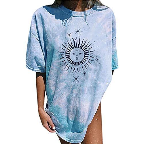 KIACIYA Tshirt Damen Sommer Sonne Mond Live by The Sun Dream by The Moon Vintage Kurzarm Oversized Lustige Drucken Rundhal Tops Tee Mädchen Beiläufig Oberteile Shirts Bluse Sportshirt (8,M)