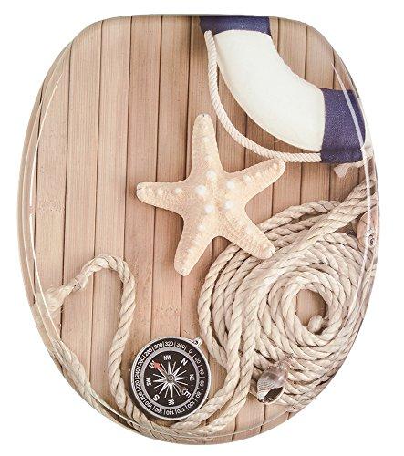 WC Sitz mit Absenkautomatik, hochwertige Oberfläche, einfache Montage, stabile Scharniere, Maritim